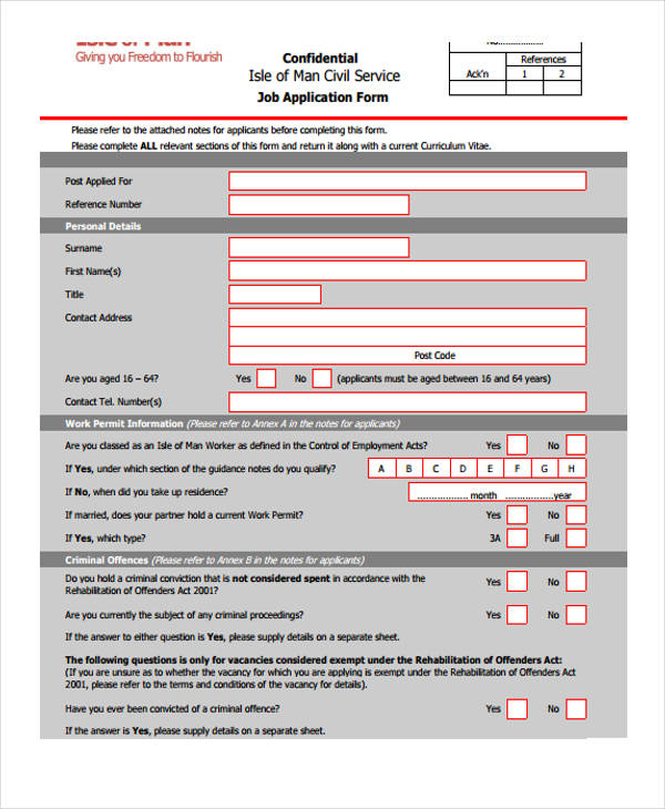 10 Different Job Application Forms