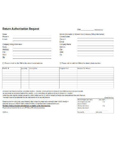 return authorization form sample