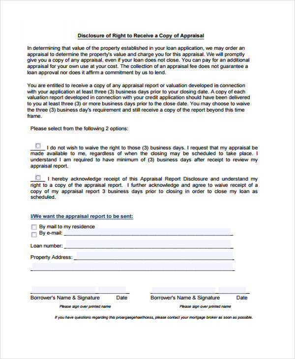 right to receive appraisal disclosure form