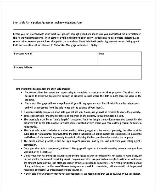 sale participation acknowledgement agreement form