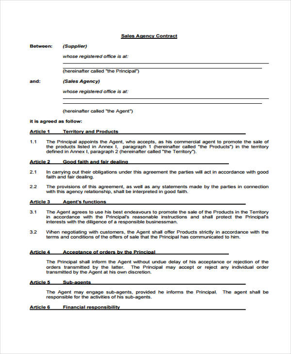 sales agent contract agreement form