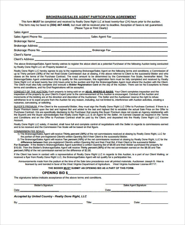 sales agent participation agreement form1