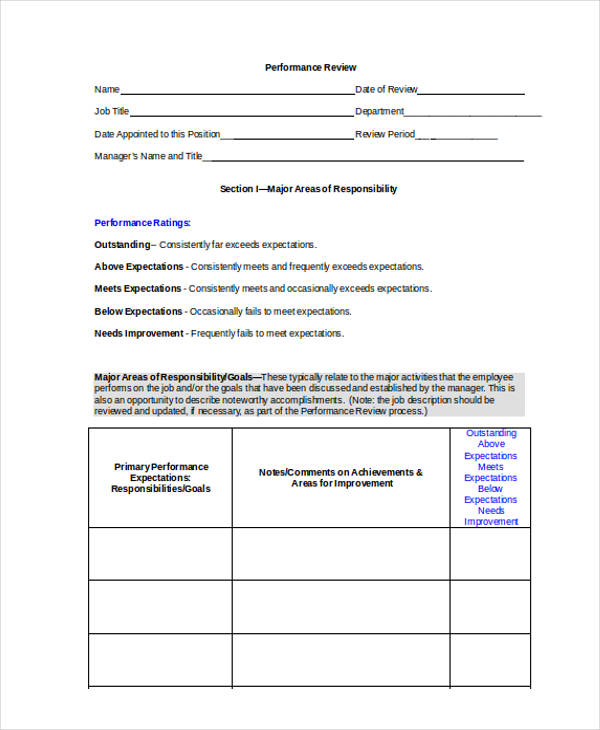 sales performance review report form