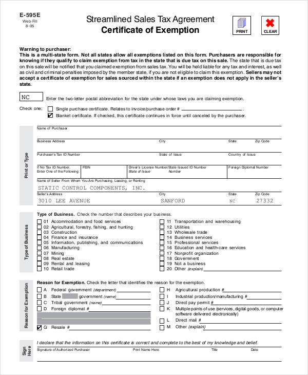 sales tax agreement certificate form