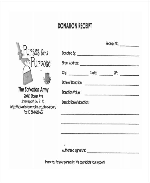 11 donation receipt form sample free sample example format salvation army donation altavistaventures Gallery