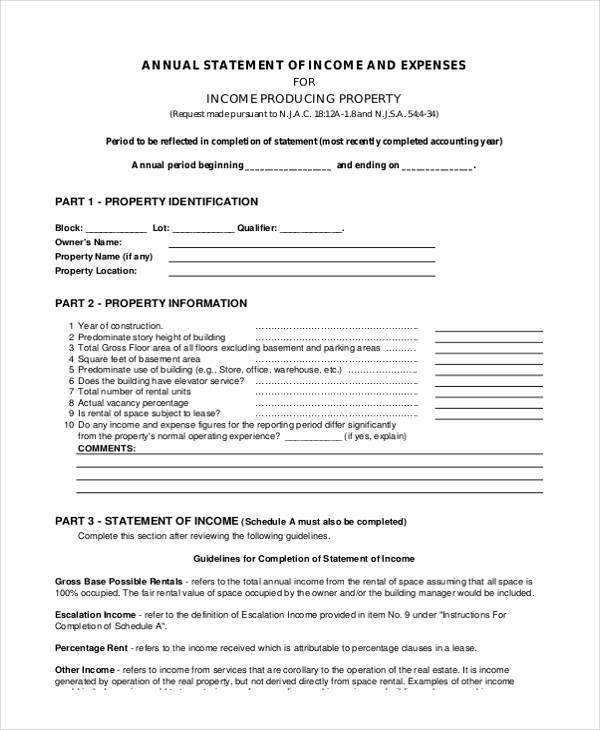 sample annual income and expense form