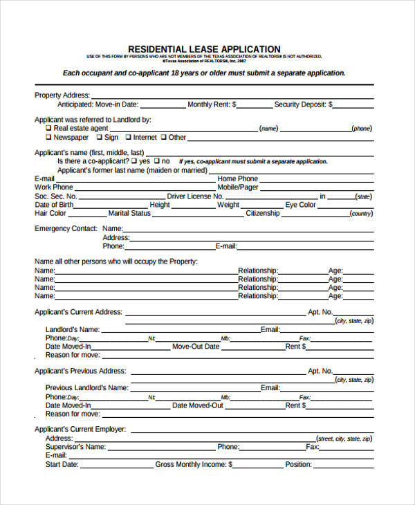 Free Lease Application Form  Free Documents In Word Pdf