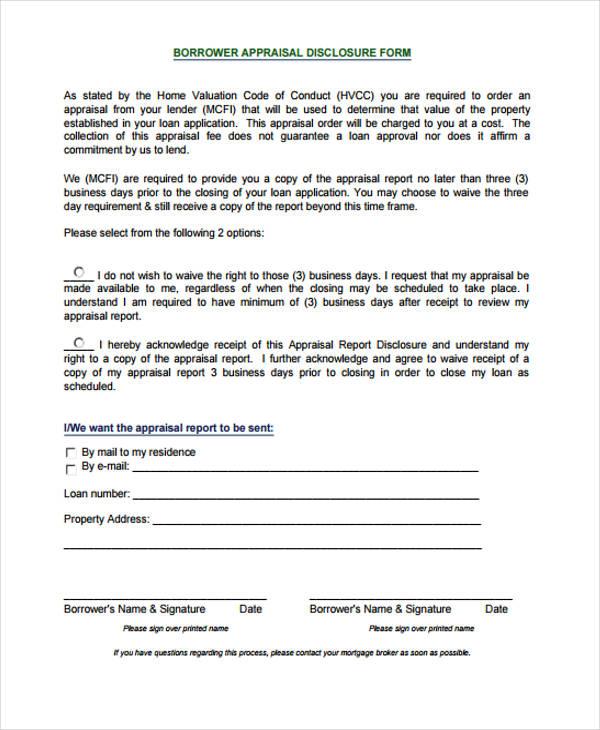 sample borrower appraisal disclosure form