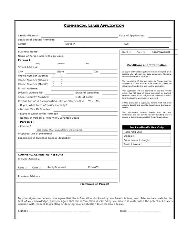 Commercial Lease Application Form  Free Sample Example