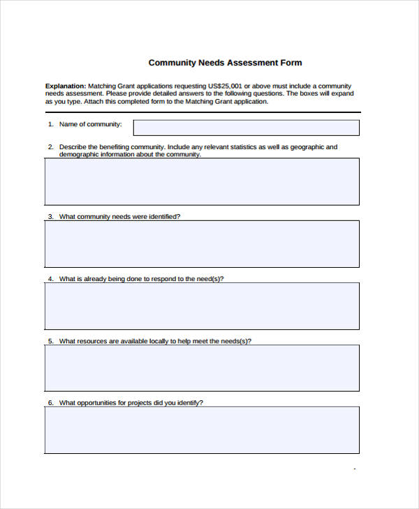 sample community needs assessment form