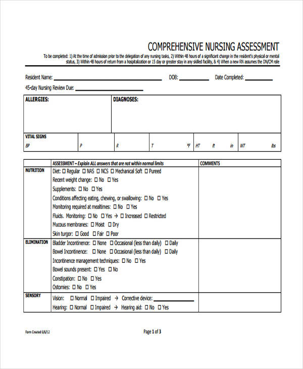 sample comprehensive nursing assessment form