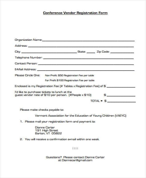 sample conference vendor registration form