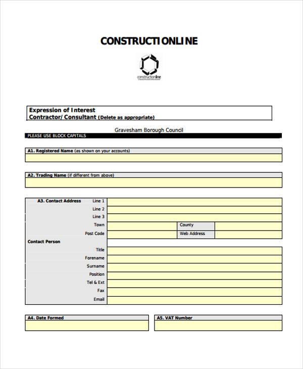 sample construction line application form
