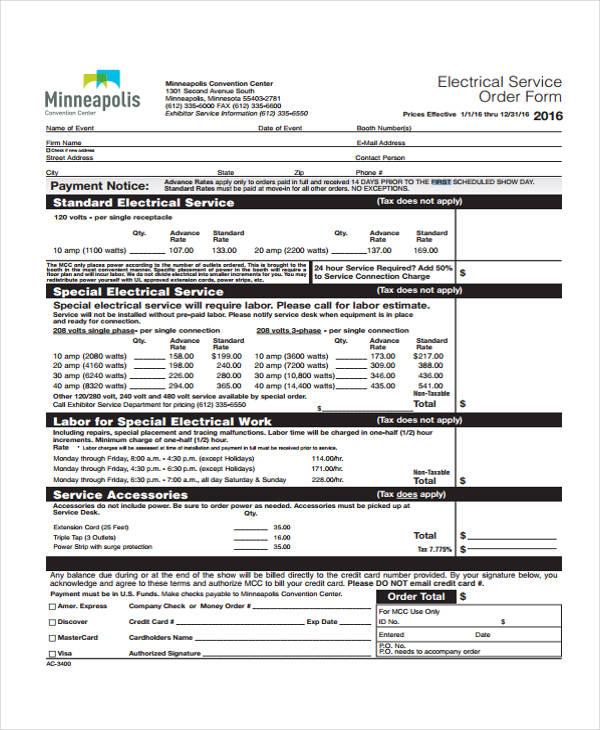 sample electrical service order form2