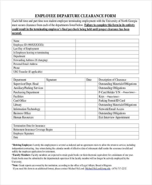 sample employee departure clearance form