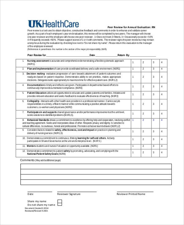 Awesome Sample Employee Peer Review Form