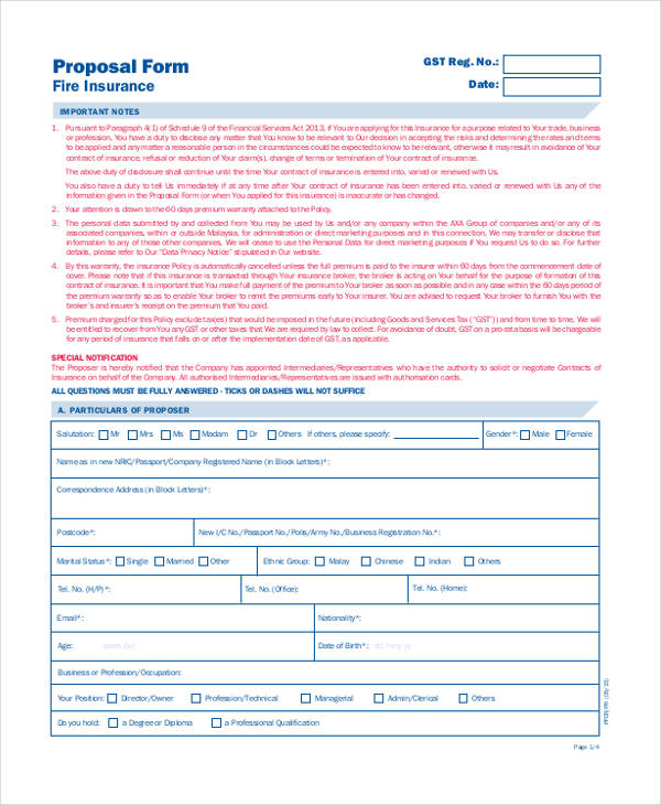 sample fire insurance form