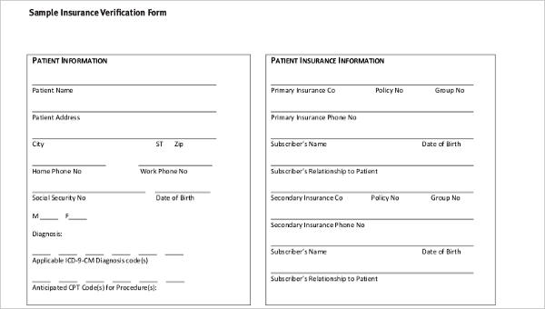Free 17 Sample Insurance Verification Forms In Pdf Word