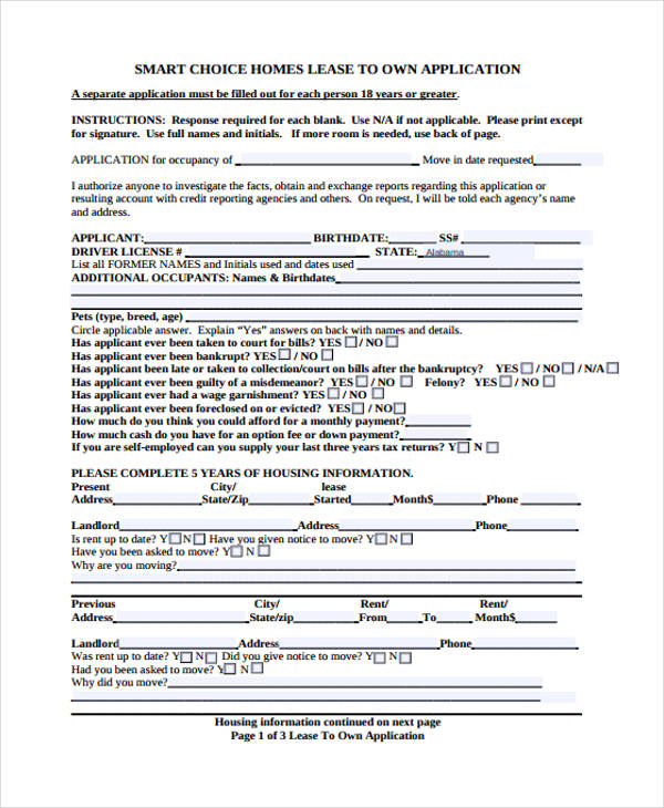 sample lease purchase application form