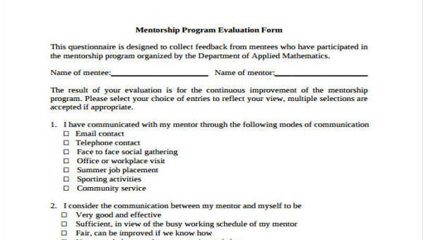 Mentor Evaluation Form 9 Free Documents In Word Pdf