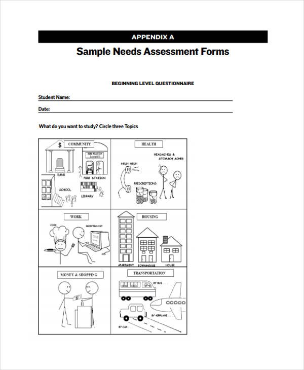 sample needs assessment form