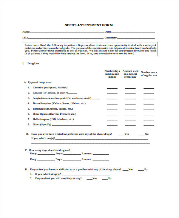 32 Free Needs Assessment Forms – Sample Needs Assessment