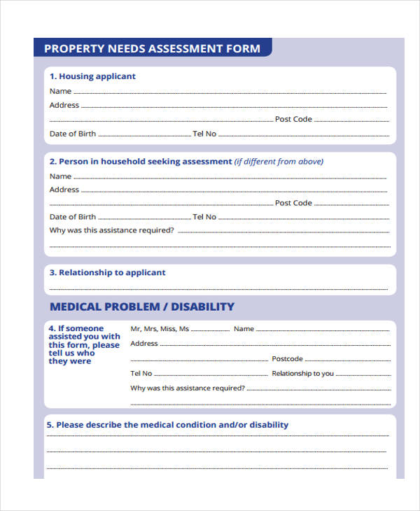 Needs Assessment Form Template – Sample Needs Assessment