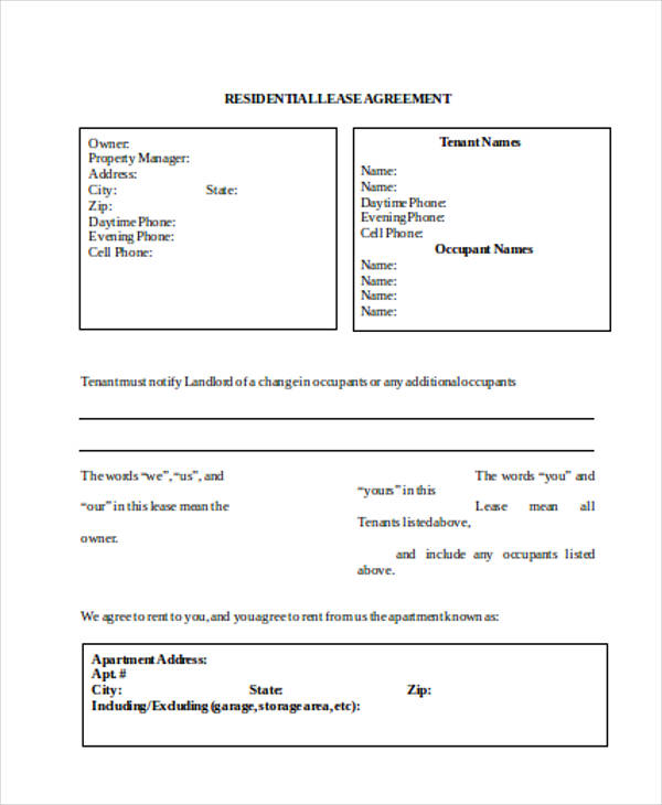 Rental Agreement Form in Word – Sample Rental Agreement Form