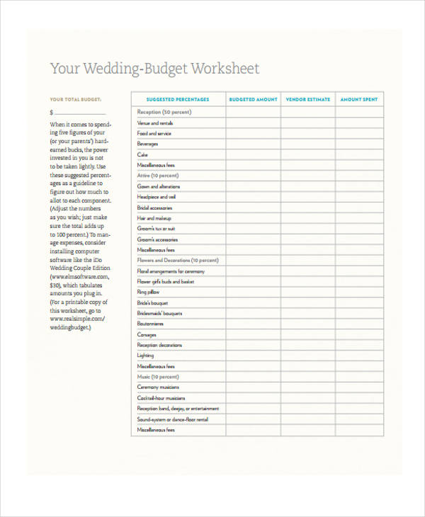 example of a budget sheet