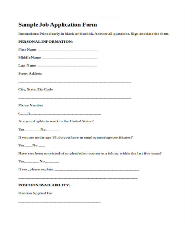 sample work job application form