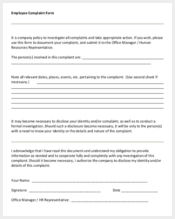 sample mployee complaint form download