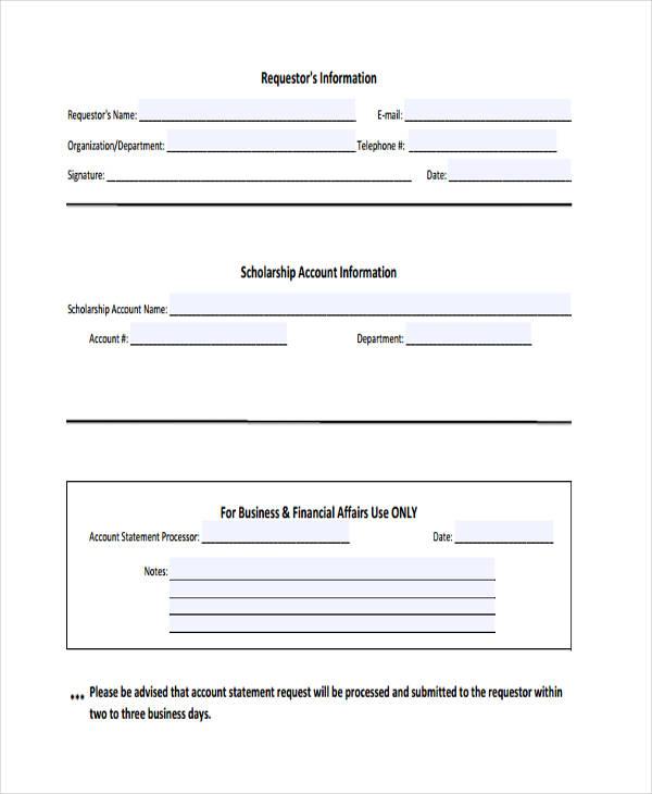 scholarship account statement