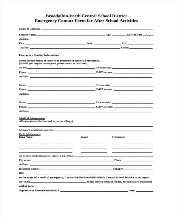 school activities emergency contact form