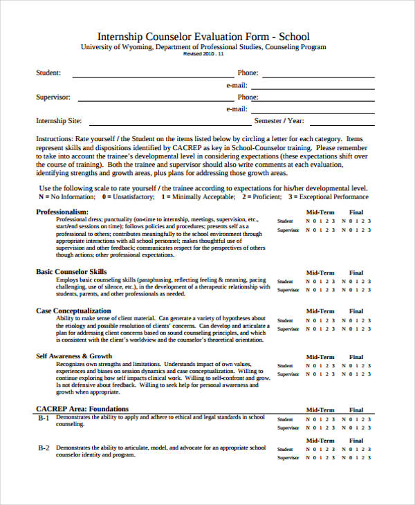 school counselling evaluation form