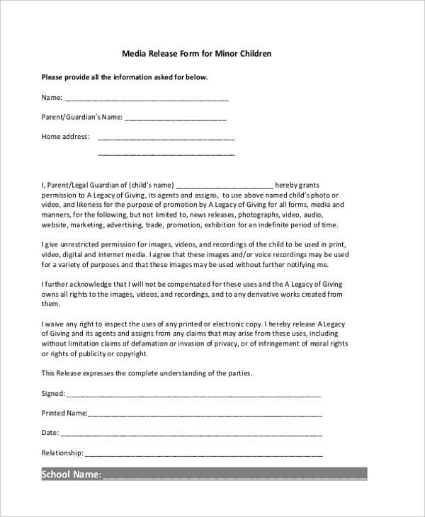 school digital release form