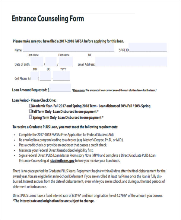 school entrance counseling form