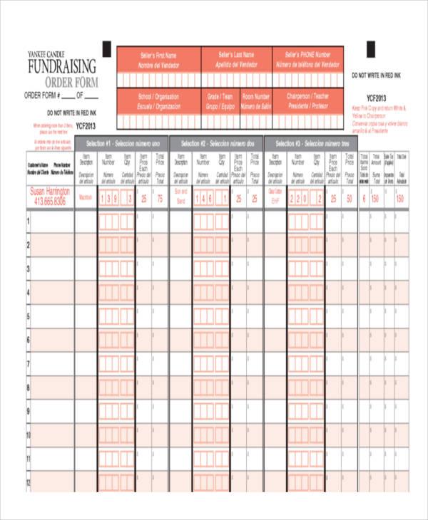 school fundraiser order