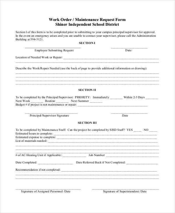school maintenance work order form in pdf