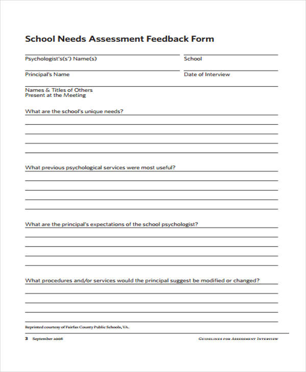school needs assessment feedback form
