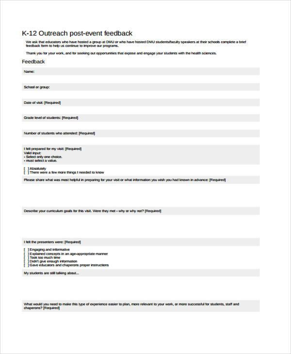 school post event feedback form