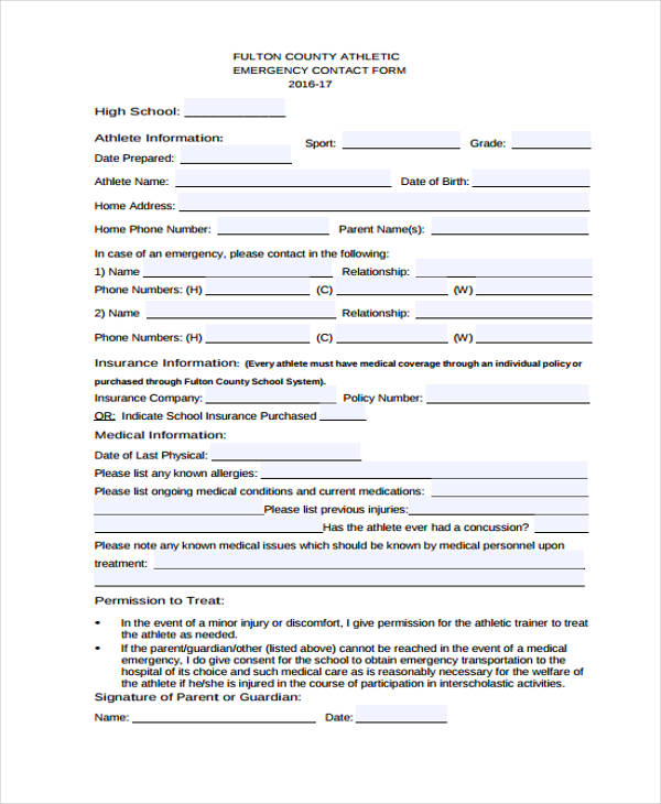 26  emergency contact form in pdf