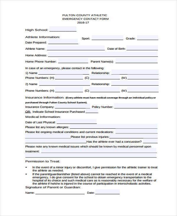 school sports emergency contact form