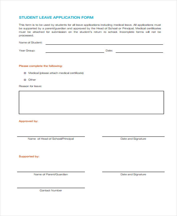 School leave application sick leave application letter for student student application form templates altavistaventures Image collections