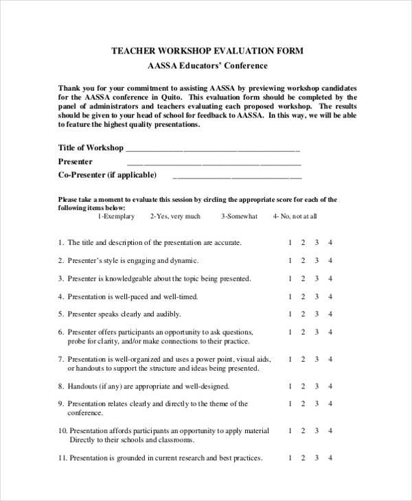 school teacher workshop form