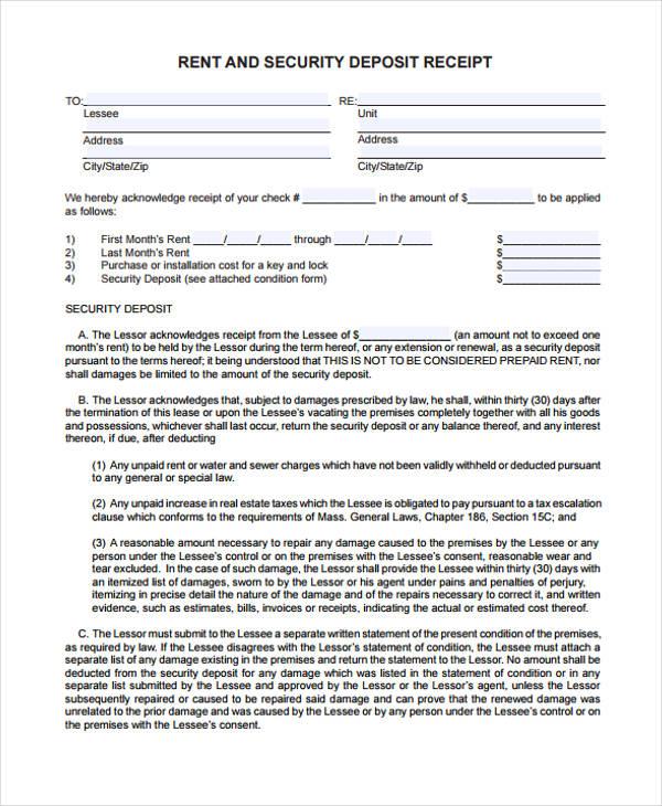 security deposit rent receipt form