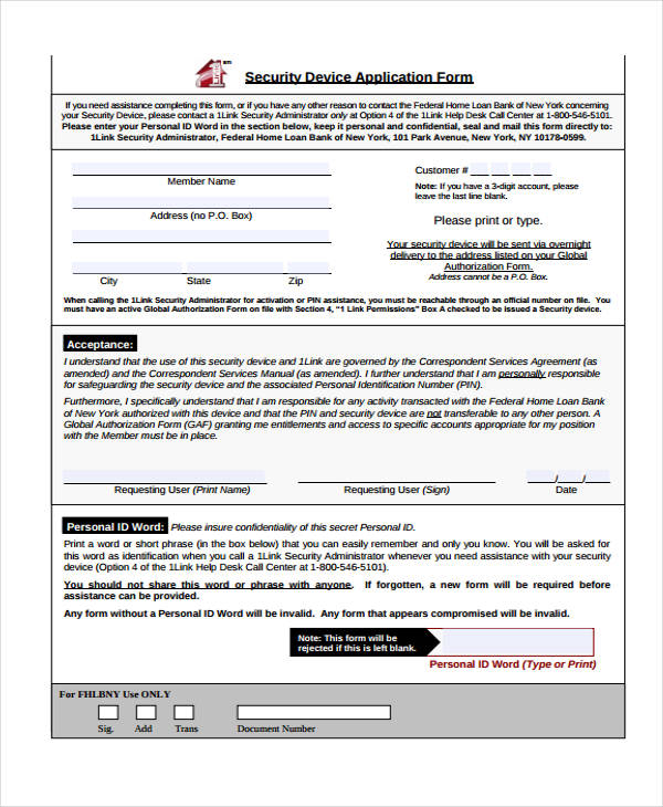 security device application form