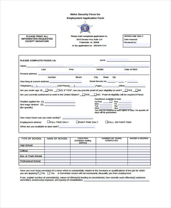 10 security application form samples free samples