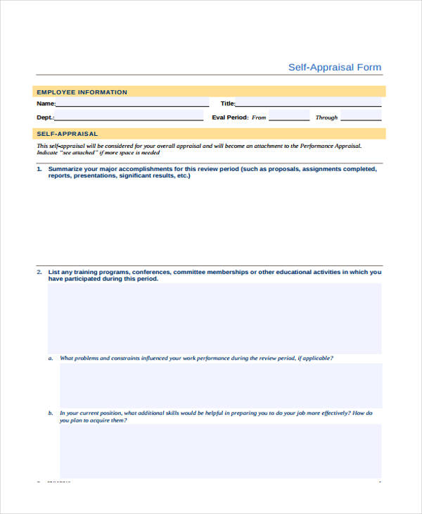 Blank Appraisal Form Sample  Free Sample Example Format Download