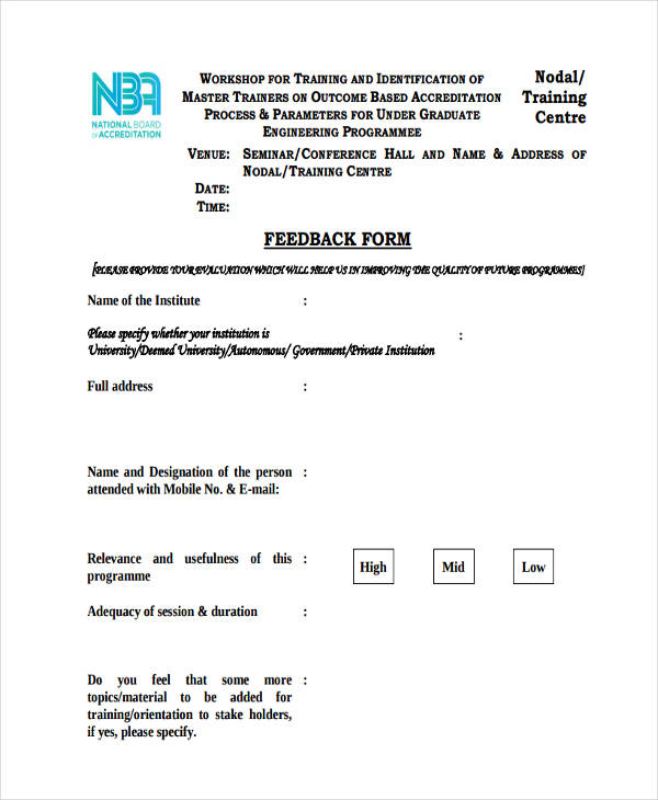 Seminar Feedback Form Sample  Free Sample Example Format Download