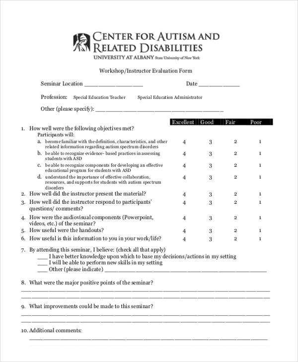 Beautiful Seminar Evaluation Form Photos  Best Resume Examples By